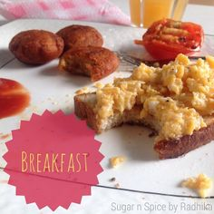 Scrambled eggs on toasted garlic bread, potato cutlets and grilled tomato! Nothing better to start your day with! #breakfast #eggs #scramb...