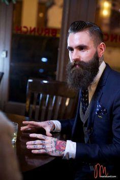 Ricki Hall - Beard  Tattoo Model.  Where can we sign up my hubs as a beard model?  He'd be perfect! :D