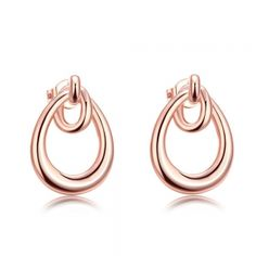 18K Rose Gold Plated Double Hoop Studded Earrings. * Spoil yourself or someone you know with this beautiful irresistible piece, for any occasion and sure to get a lot of attention!  Special gift idea. No matter if you're shopping for your own mother, or your grandmother, wife, daughter, or granddaughter, touch their heart with this beautiful, stunning and unique pair of jewelry. * Size: Earring Dimensions:1.8X1.2CM * Material: * Weight(grams): 2.90