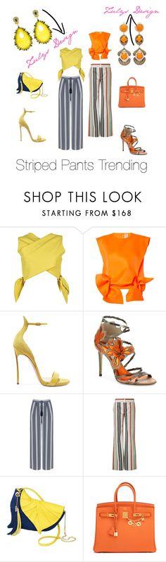 """Striped Pants Trending"" by zulysdesign ❤ liked on Polyvore featuring MSGM, Maison Rabih Kayrouz, Casadei, Jimmy Choo, Manon Baptiste, Chloé and Hermès"