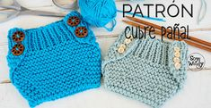 Cómo tejer un cubre pañal-braguita-calzón (dos agujas) PATRÓN 2 tallas Easy Knitting Projects, Easy Knitting Patterns, Knitting Videos, Knitting For Kids, Baby Patterns, Baby Knitting, Crochet Baby, Free Knitting, Diaper Cover Pattern