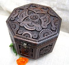 Jewelry box Ring box Carved wood box Wooden box by HappyFlying