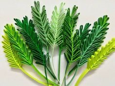 Quilling sprigs of leaves with hair brush - YouTube