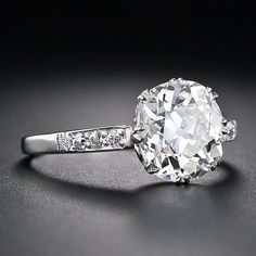 2.64 Carat Antique Cushion Cut Diamond Engagement Ring - 10-1-4703 - Lang Antiques
