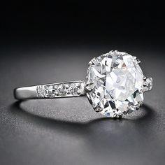 2.64 Carat Antique Cushion Cut Diamond Engagement Ring - 10-1-4703 - Lang Antiques