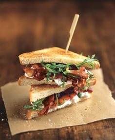 Crispy Pancetta, Burrata, and Tomato Sandwiches....made these. You have to make them if you are a burrata fan...TDF!