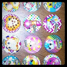 Shopkins Pinbacks 1 inch round with metal frame with pins in the back great for painting on tshirts party favors or even backpacks. You will receive a total of 15 shopkin buttons which shown in picture. Excuse the rest of the photo , the rest didn't come through.  I have quite a few other images of shopkins please feel free to contact me be glad to share more. shopkins Accessories
