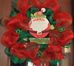 Santa Deco Mesh Christmas Wreath by DarlingPeaches on Etsy, $65.00