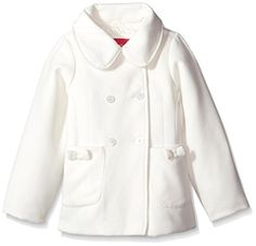 London Fog Little Girls' Bow Pocket Faux Wool Peacoat, Ivory, 5/6 – Jug of Milk