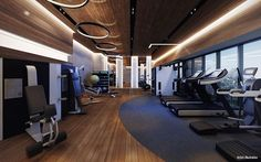 29 ideas fitness gym interior design ceilings for 2019 Interior Ceiling Design, Gym Interior, Modern Interior Design, Interior Ideas, Luxury Gym, Modern Luxury, Centro Fitness, Piscina Spa, Gym Lighting