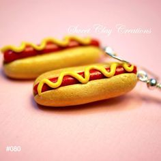 Hot Dog Earrings Miniature Food Jewelry Polymer by Sclaycreations