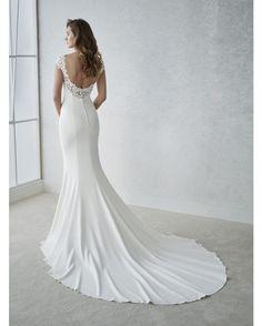 Back of Fiana wedding dress by White One Bridal from Pronovias www. Bateau Wedding Dress, Crepe Wedding Dress, Dream Wedding Dresses, Bridal Dresses, Wedding Gowns, White Gowns, Wedding Dress Shopping, Bridal Boutique, Dream Dress