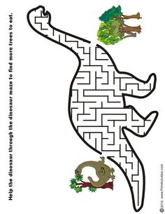 Free printable mazes for kids! Alphabet, dinosaur, numbers, and all kinds of mazes. Dinosaur Worksheets, Dinosaur Printables, Dinosaur Activities, Preschool Activities, Dinosaur Crafts Kids, Vocabulary Activities, Dino Craft, Dinosaur Projects, Mazes For Kids Printable