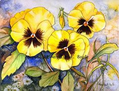 SET  of FOUR PANSY Cards yellow pansies purple by OriginalSandMore, $8.50