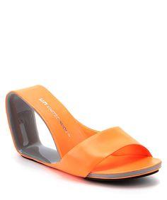 Mobius+hi+neon+orange+leather+heels+by+United+Nude+on+secretsales.com