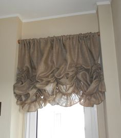 Burlap Valance 84 x 36 with ruffle by MadeInBurlap on Etsy