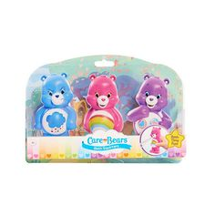 Now you can take your Care Bears in the bath.  These colorful squirters make bath time so much fun.  Includes:  Cheer, Share, and Grumpy Bear