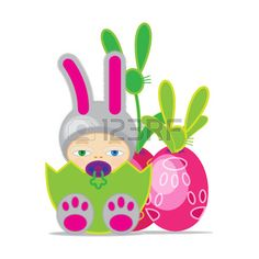 Babies and easter egg to fertility of nature in the spring  Stock Vector
