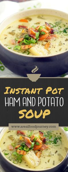 instant pot soup! Ham and potato soup, dump it in the instant pot and walk away! quick easy soup for dinner