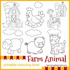 Printable Coloring Pictures Of Animals Elegant Farm Animal Printable Colouring Pages Messy Little Monster Witch Coloring Pages, Farm Animal Coloring Pages, Pumpkin Coloring Pages, Preschool Coloring Pages, Free Printable Coloring Pages, Coloring Pages For Kids, Colouring, Coloring Sheets, Free Printables