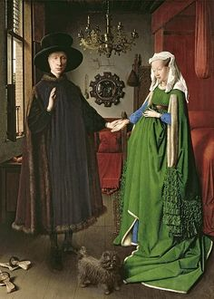 'The Arnolfini Marriage' by Jan Van Eyck - 1434 - one of the most important portrait paintings of the Northern Renaissance. National Gallery London.