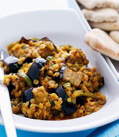 This aubergine and red lentil curry recipe makes a warming and spicy vegetarian dish.