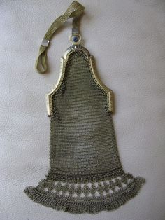 Antique Art Deco Gold T Cathedral Frame Blue Jewel Diamond Fringe Mesh Purse #7 #EveningBag
