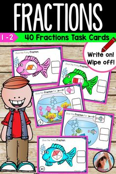 Fractions Task Cards - These bright colorful FRACTIONS task cards are sure to grab your students' attention! Each set has an envelope cover for easy storage. Just add skinny dry erase markers and small pieces of Mr. Clean Magic Erasers and you're all set with a fun new station. Fraction Fish Task Cards  20 Task Cards Parts of a Whole (4 per page) 1 Recording sheet (2 per page) 20 Task Cards Parts of a Set (4 per page) 1 Recording Sheet (2 per page) Fraction Activities, Math Activities For Kids, Fun Math, Math Resources, First Grade Lessons, Second Grade Math, Grade 1, Homeschool Kindergarten, Elementary Math