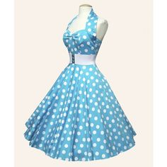 1950s casual dress, sky blue with white dots.
