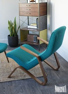 The Modernica Grasshopper Chair along with a custom Case Study