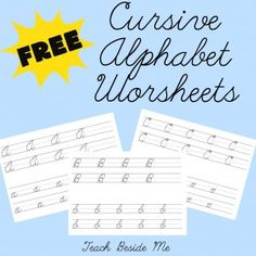 Free Cursive Worksheets For Homeschoolers: FREE Cursive Handwriting Worksheets   Awesome  Our girl and    ,