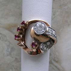 Retro period 14K Pink Gold Diamond Ruby by marketplacetreasure, $1475.00