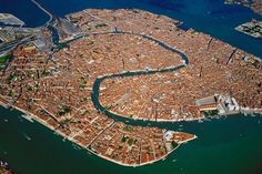 Venice, Italy from high above.