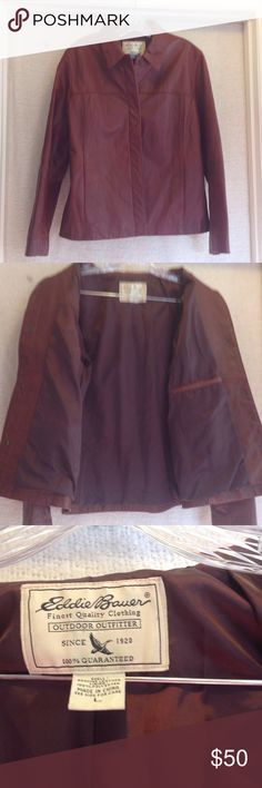 Brown Genuine leather jacket Genuine leather shell with 100% Polyester lining. Button down. Eddie Bauer Jackets & Coats