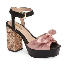 Women's Shellys London Deepali Knotted Platform Sandal (£120) ❤ liked on Polyvore featuring shoes, sandals, blush satin, platform shoes, chunky shoes, block heel sandals, glitter platform shoes and glitter platform sandals