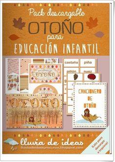 """El pack descargable """"Otoño para Educación Infantil"""", de Maite Gan, en la web lluviadeideas. , constituye un magnífico conjunto de carteles, rótulos, decoración, cancionero y palabras e imágenes sobre el otoño."""