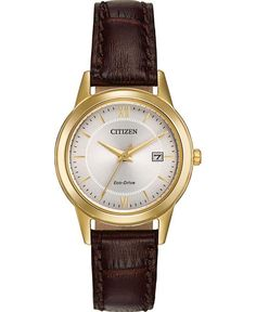 A classic design, rich brown leather strap, and date are features of this traditional dress timepiece from CITIZEN®'s Corso collection. Shown with a gold-tone stainless steel case and a metallic silver-tone dial enhanced with gold-tone accents. Brown Leather Strap Watch, Jewelry Auctions, Beautiful Watches, Lady, Gold Watch, Citizen Eco, Citizen Watches, Women's Watches, Wrist Watches