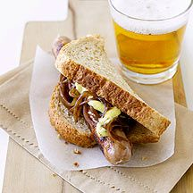 Sausage sandwich with caramelised onion