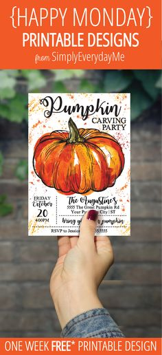 Your weekly free* {HAPPY MONDAY} printable design from SimplyEverydayMe // Pumpkin Carving Party Invitation // Simply edit text using Adobe Reader with your party info, print, create and share... it's that easy! *New to {HAPPY MONDAY}... see details about *free printables here... SimplyEverydayMe... playful party printables... print.create.share #happymonday #SimplyEverydayMe #pumpkincarving #pumpkinparty