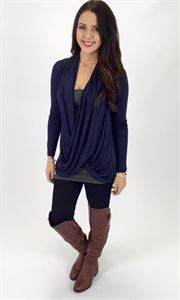 Junky Trunk Boutique. Round-a-bout Top. Cute navy cross over top! Perfect color for fall!