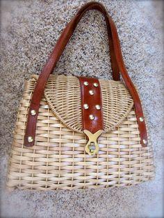 15f3c9448d SALE Vintage Retro Woven Basket Purse Handbag Straw by QuinlanQ British  Hong Kong
