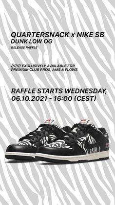 The Nike SB x Quartersnacks Dunk Low OG - available exclusively for Premium Club FLOWs, AMs and PROs via Release Raffle. The Raffle will run from 06.10.2021, 16:00 until 07.10.2021, 23:59 (CEST). All further information can be found on the Release Raffle page in our shop.