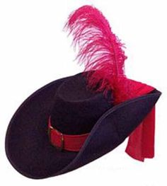 Black Felt Musketeer Costume Hat With feather