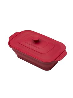 Форма для приготовления прямоугольная с крышкой OURSSON. Цвет красный.