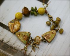 Fabulous use of these arches by Kristin. Grassy Green Bracelet  Primitive Scorched Earth by YaYJewelry, $72.00