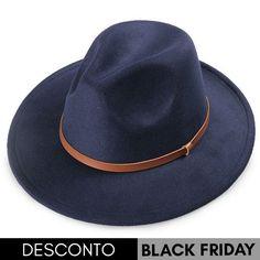 Chapéu Fedora Azul Marinho Aba Média 8cm Couro Caramelo 146f07ef2b1