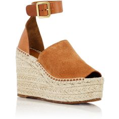 Chloé Women's Espadrille Wedge Sandals ($625) ❤ liked on Polyvore featuring shoes, sandals, espadrille wedge sandals, peep toe wedge sandals, espadrille sandals, wedge espadrilles and chloe sandals