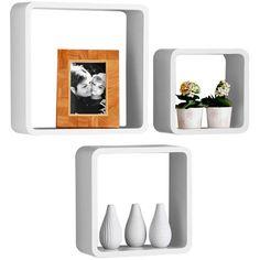 Set Of 3 Retro WHITE Square Floating Cube Wall Storage Shelves Shelf Cubes - NEW | eBay