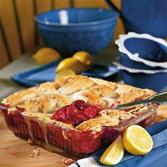 It's hard to find a cobbler recipe that's easier than this one. Top cherry pie filling and canned dark sweet cherries with strips of white bread drizzled with sugar, butter, egg, and lemon rind. In just minutes, your kitchen will be filled with the irresistible aroma of baking cobbler. Save even more time by using store-bought, crustless white bread for the topping.