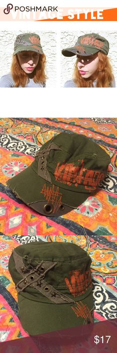 """Army green """"Vintage"""" hat Made to look vintage/distressed army green hat with orange lettering. Doesn't have size tag. Very stretchy. Bundle and save 💚 Accessories Hats"""